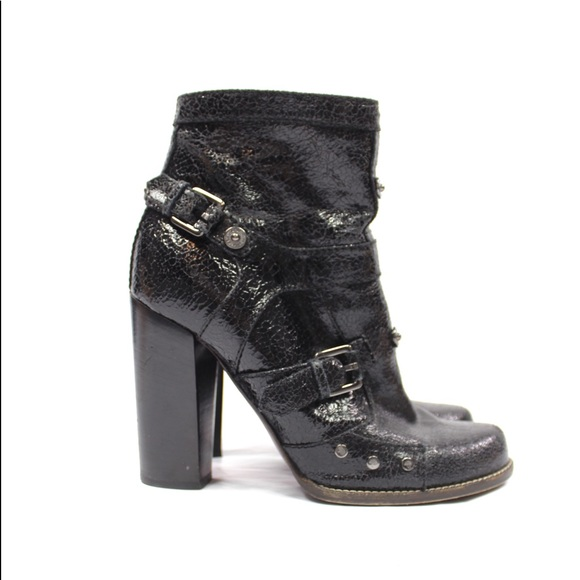 Mulberry Crackle Leather Buckle Ankle Boots